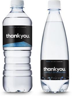 Thankyou Water Bottles - Natural Premium Spring Water and Lightly Sparkling Water